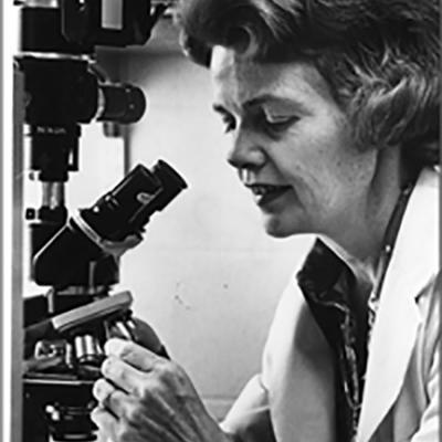 Rebecca Buckley at microscope